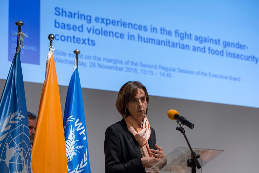 Spain and WFP Gender Division-sponsored side event on Sharing experiences in the fight against gender-based violence in humanitarian and food insecurity contexts. Photo Credit: WFP/Giulio D'Adamo