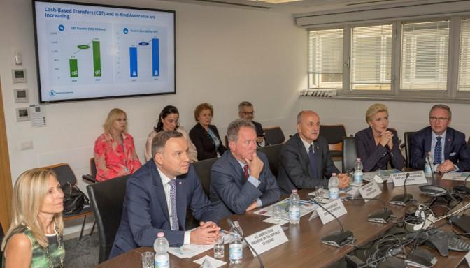The President and the First Lady of the Republic of Poland receive an operations briefing in the OPSCEN.  The WFP Executive Board President, Mr. Zoltán Kálmán of Hungary who is also the List E (Eastern/Central Europe Convenor) (seated to the left of the Executive Director), formed part of the welcoming delegation to WFP Headquarters.  PGB includes as a regular feature in high-level visit scenarios a briefing on operations of interest to the visiting delegation. Photo Credit: WFP/Giulio dAdamo