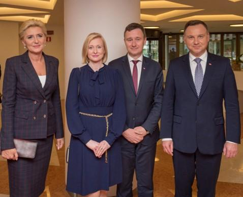 The President (far right) and the First Lady (far left) of the Republic of Poland with the Ambassador and Permanent Representative of the Poland, H.E. Artur Pollok (second right) and his wife (second left). Photo Credit: WFP/Giulio dAdamo