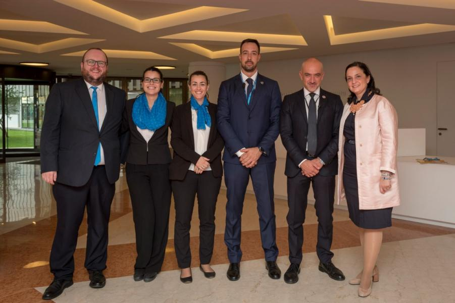 Some of the WFP team from the Executive Board Secretariat and HQ Security Branch with Ms Harriet  Spanos, WFP Secretary to the Executive Board, who supported the high-level visits.  PGB relies on the hand-in-hand support of Facilities Management and HQ Security Branch to carry out all events. From left to right Mr M. Gilliland, Ms V. Younes and Ms L. Ponzi, Executive Board Secretariat; Mr S. Bertolini and Mr A. Carboni, HQ Security Branch; and Ms H. Spanos. Photo Credit: WFP/Giulio dAdamo