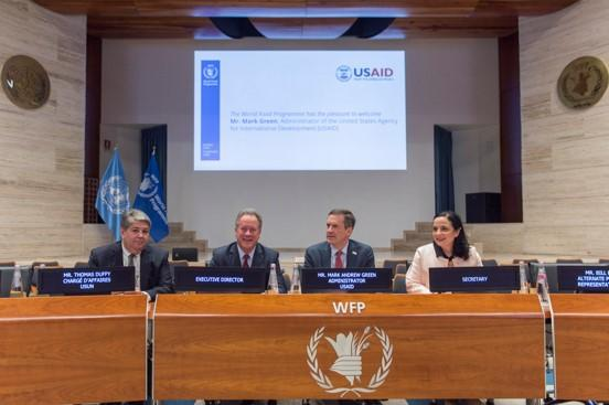 Mr Mark Green, Administrator of USAID, the Executive Director, Mr Thomas Duffy, Chargé d'affaires, USUN, poses for photo in WFP Auditorium with Ms Harriet Spanos, Secretary to the Executive Board . Photo Credit: WFP/Rein Skullerud