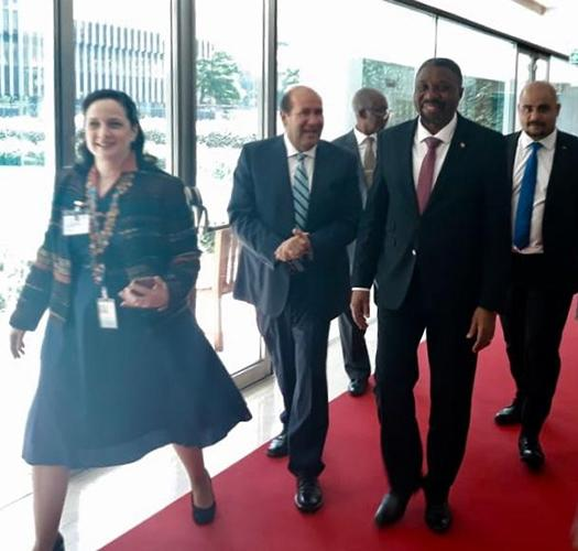 Walking on the red carpet with with His Excellency Jorge Lopes Bom Jesus, Prime Minister of Sao Tome and Principe, and Delegation
